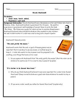Machiavelli Worksheet