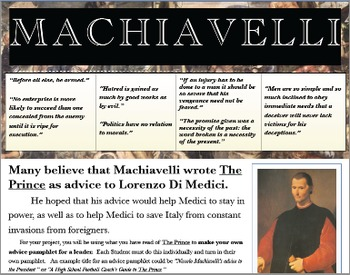 Machiavelli's 'The Prince', Advice Pamphlet (Summative Assessment)