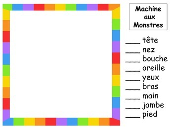Machine aux Monstres – Monster Drawing Game – The Body Vocabulary in French