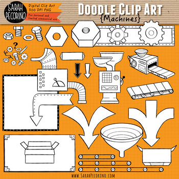 Machines Doodle Clip Art Collection