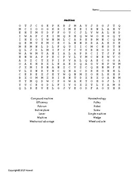 Machines Vocabulary Word Search for Physical Science