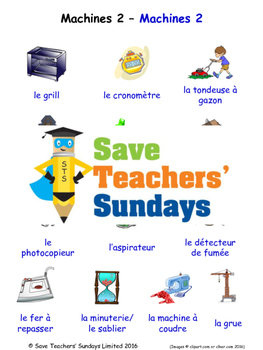 Machines in French Worksheets, Games, Activities and Flash Cards (2)