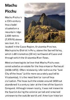 Machu Picchu Activity Booklet