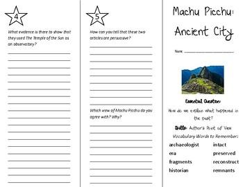Machu Picchu: Ancient City Trifold - Wonders 5th Grade Unit 3 Week 5