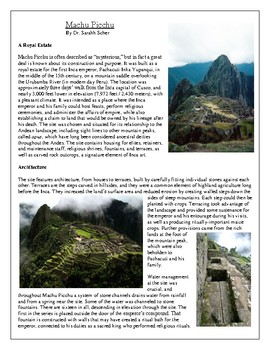 Machu Picchu Article and Questions
