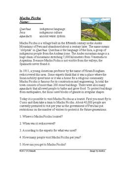 Machu Picchu Cultural Reading (in English)
