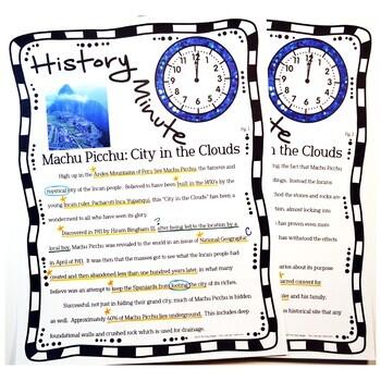 Machu Picchu History Minute Cross Curricular Packet Free Sample