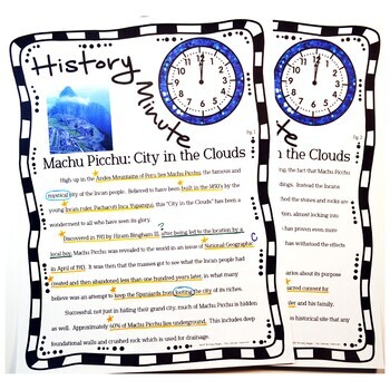 Machu Picchu History Minute Cross Curricular Close Reading Packet Free Sample