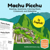 Machu Picchu Lesson: Teach about the Incas in Peru! Reading, Crossword, Coloring