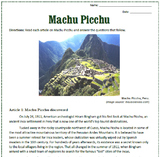 Machu Picchu: Reading, Activities, and Substitute Plan for