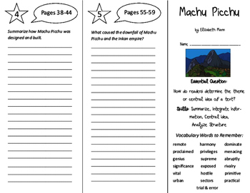 Machu Picchu Trifold - ReadyGen 6th Grade Unit 1 Module B
