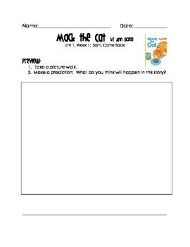 Mack the Cat (Reading Street 1st Grade) Worksheet