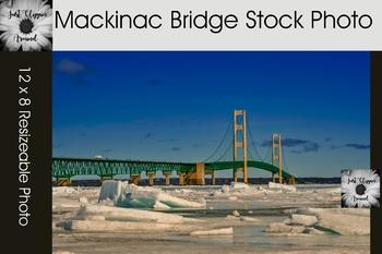 Mackinac Bridge in Winter Stock Photo