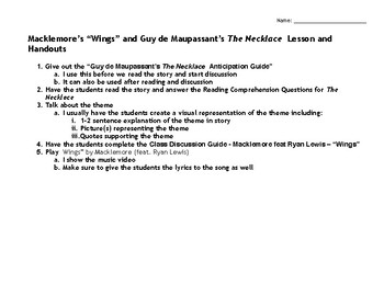 """Macklemore's """"Wings"""" paired with Guy de Maupassant's """"The Necklace"""""""