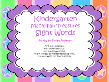 Macmillan Kindergarten- Sight Words for Word Wall
