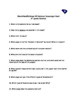 Macmillan McGraw Hill 5th gr Scavenger Hunt