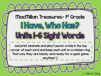 Macmillan Treasures I have, Who Has Sight Word Game
