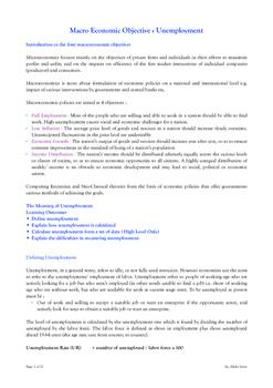 Macroeconomic Objective - Unemployment