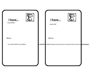 Macroeconomics Unit 2 Vocab looping cards