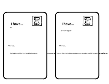 Macroeconomics Unit 4 Financial Sector Looping cards