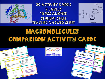 Macromolecule Comparison Activity Cards