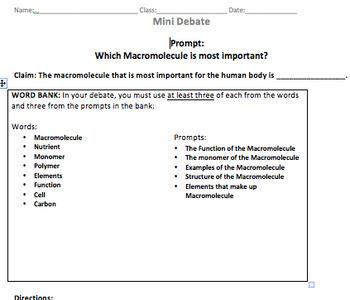 Macromolecule Mini Debate