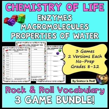 Macromolecules, Enzymes, & Water Chemistry-Rock & Roll Vocabulary Games BUNDLE!