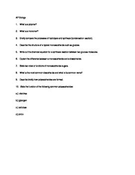 Macromolecules Homework
