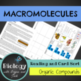 Macromolecules: Organic Compounds Reading and Card Sort
