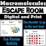 Macromolecules Activity: Biology Escape Room Science (Carbon/ Organic Compounds)