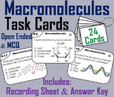 Macromolecules Task Cards/ Carbon Compounds: Carbohydrates, Lipids, Proteins etc