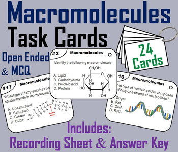Macromolecules Task Cards/ Carbon Compounds: Carbohydrates, Lipids, Proteins etc