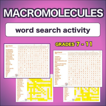 Macromolecules * WordSearch * Vocabulary*