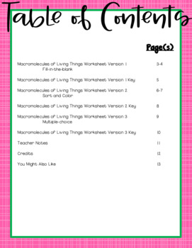 macromolecules of living things worksheet for middle and high school students. Black Bedroom Furniture Sets. Home Design Ideas