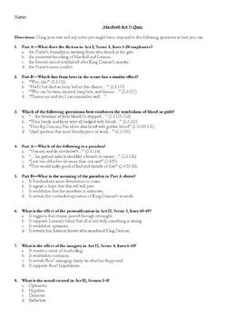 Mactbeth Act 2 Quiz