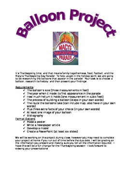 Macy's Thanksgiving Day Parade Balloon Research Project