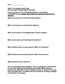 Macy's Thanksgiving Day Parade Balloons Volume Worksheet