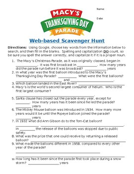 Macy's Thanksgiving Day Parade Web-Based Scavenger Hunt