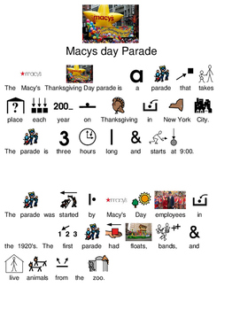 Macy's Thanksgiving Day Parade - picture supported text lesson visuals Macys