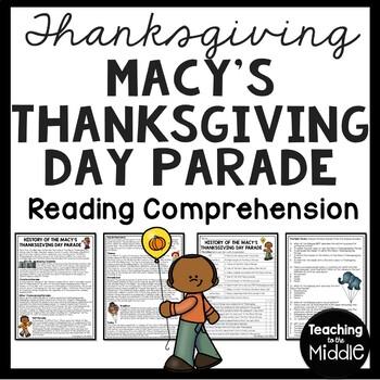 Macy's Thanksgiving Parade Reading Comprehension Worksheet, November