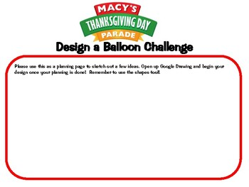 Macy's Thanksgiving Day Parade Create Your Own Balloon Activity