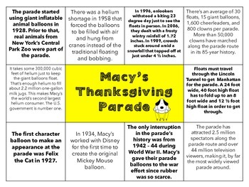 Macy's Thanksgiving Parade: Math and Informational Reading
