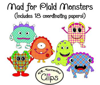 Mad 4 Plaid Monsters!  (includes coordinating papers!)
