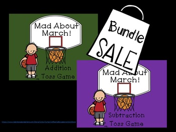 Mad About March Subtraction Addition Toss Game Bundle