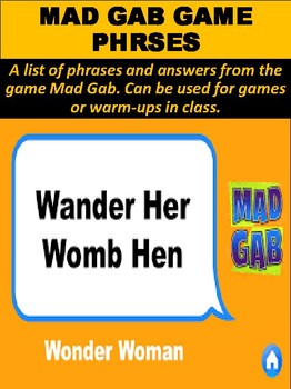 Mad Gab Game Phrases