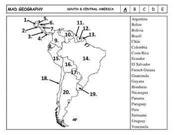 Mad Geography Central & South America Blank Map Tests