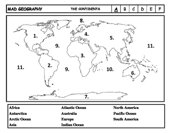 Mad Geography Continents and Oceans Blank Map Tests by Just Suggestions