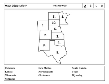 Mad Geography United States Blank Map Tests