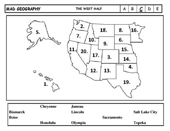 Mad Geography United States Capitals Blank Map Tests