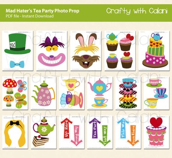 Mad Hatter's Tea Party Photo Prop, Alice in Wonderland Photo Prop Printable